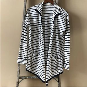 LA MADE Blue striped draped cardigan medium